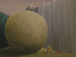 Pod vodopádem, 2017, 175x170 cm, olej na plátně