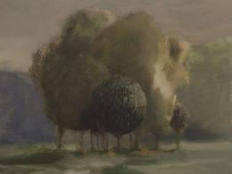 Stromy u silnice, 2017, 50x45 cm, olej na plátně