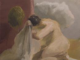 S ručníkem, 2017, 55x52cm, olej na plátně
