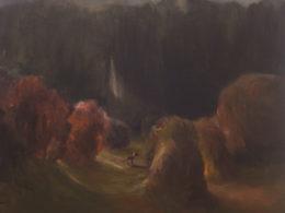 Podvečer v parku, 2016, 150x150cm, olej na plátně