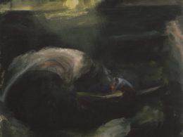 Neboj se, třesu chrastím v papírové loďce na rozbouřeném moři, 2016, 62x62cm, olej na plátně
