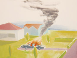 Hořící auto, 2013, 100x100 cm, olej na plátně