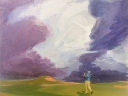 Golfista, 2015, 75x90 cm, olej na plátně