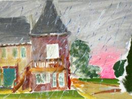 Déšť, 2013, 20x30 cm, olej na plátně