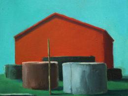 Červený dům, 2013, 35x40 cm, olej na plátně*