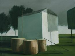 House, three barrels and a billboard, 2013, 50x60 cm, oil on canvas