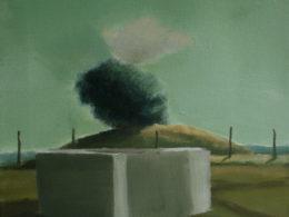 Kostka a keř na kopci, 2013, 40x35 cm, olej na plátně*