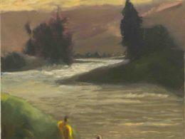Koupání v řece, 2017, 60x60 cm, olej na plátně*