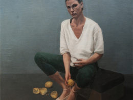 Zuzana after work, 2016, 100x90 cm, oil on canvas