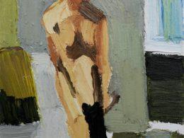 Černá punčocha (Český Krumlov), 2016, 35x25 cm, olej na plátně