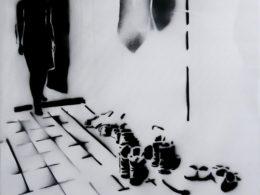 Byt, 2017, 120x95 cm, sprej na plátně