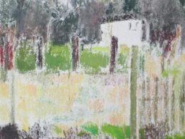 Děšť v trávě, 2015, 110x90 cm, olej na plátně