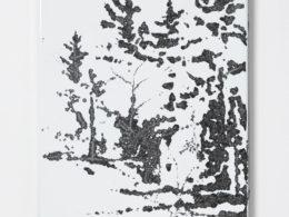 Okraj lesa, 2019, tepaný smalt, 37 x 50 cm,  (foto. Marcel Rozhoň)