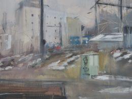 Severní nástupiště, 2018, olej na plátně, 95 x 150 cm
