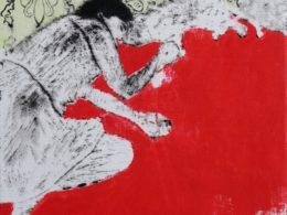Spi, 2017, 60x50 cm, lino, olej saflorový olej, váleček, plátno