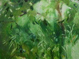 Stříbřité trávy, 2017, 95x95 cm, akryl na plátně